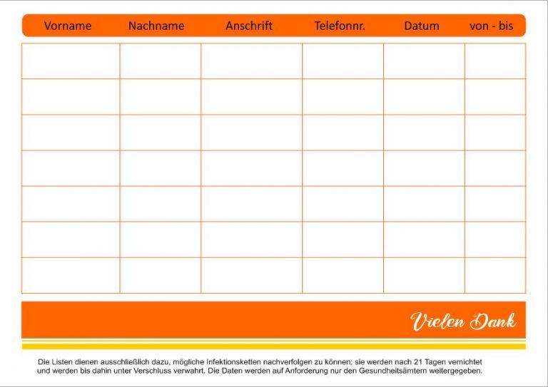 Block Besucherliste mit Eintragung der Gästenamen, Adressen...